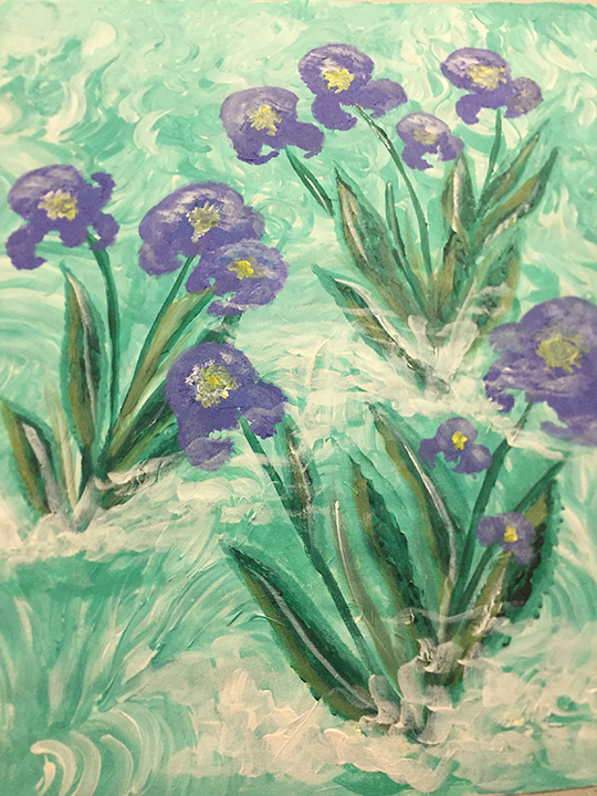 <b>Iris Heaven</b><br>23x18inches<br>Acrylic on canvas